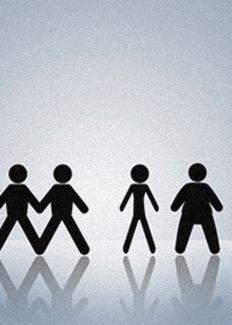 Paper cut-out people in a line but with a very thin and a very wide one off on their own to one side.